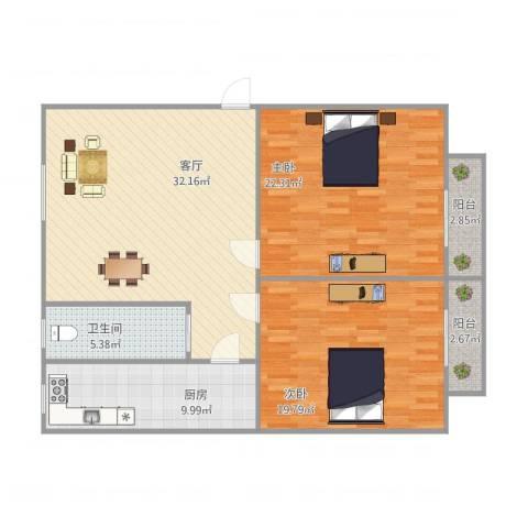 泰和新城2室1厅1卫1厨127.00㎡户型图
