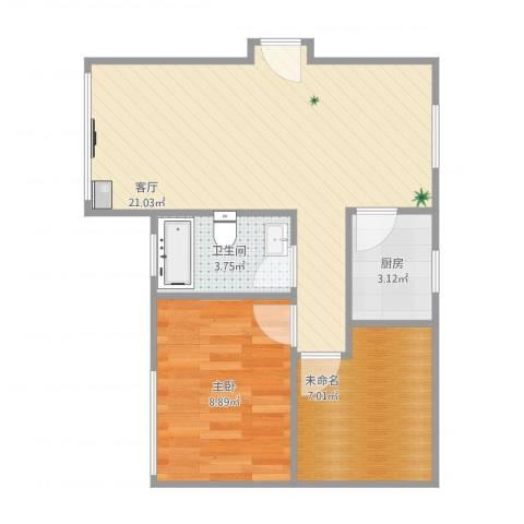 四方新城-06-030B1室1厅1卫1厨60.00㎡户型图