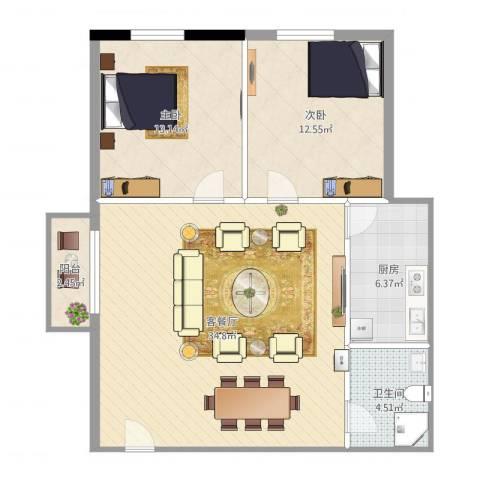 金沙俊园2室2厅1卫1厨100.00㎡户型图