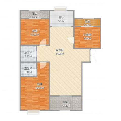 丽湖山庄3室2厅2卫1厨129.00㎡户型图