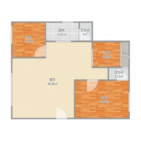 红棉苑12座3室1厅2卫1厨125.00㎡户型图