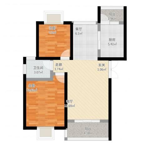 中梁山水苑2室2厅1卫1厨87.00㎡户型图