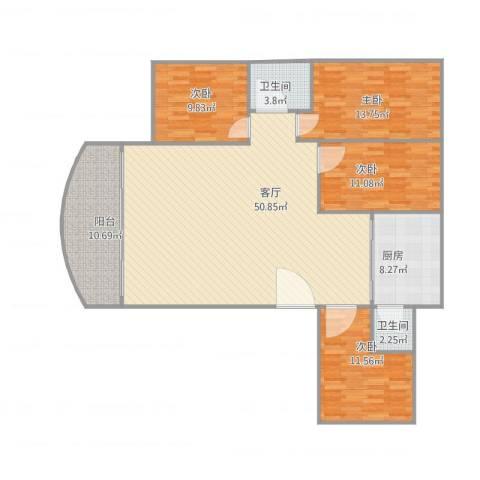 金丽花园4室1厅2卫1厨163.00㎡户型图