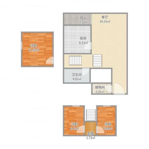 紫荆南苑3室1厅1卫1厨100.00㎡户型图
