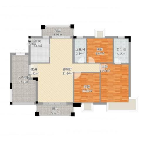 穆天子山庄3室2厅2卫1厨145.00㎡户型图