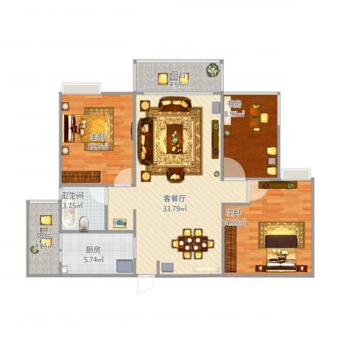 锦绣银湾3室2厅1卫1厨120.00㎡户型图