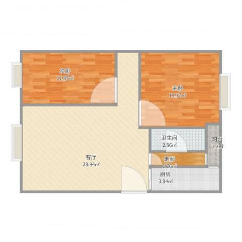 金沙新城2室1厅1卫1厨88.00㎡户型图