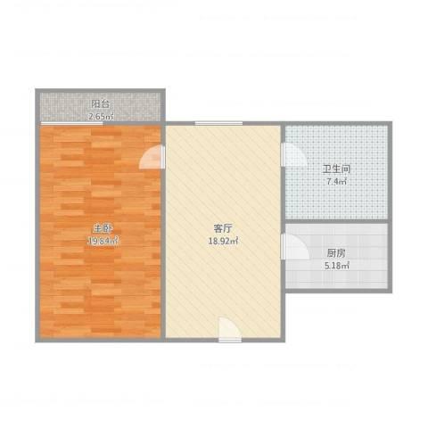 金色俪苑21号1031室1厅1卫1厨72.00㎡户型图