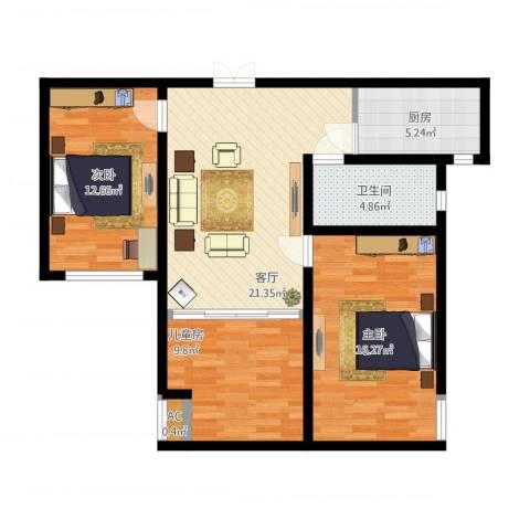 紫晶悦城3室1厅1卫1厨101.00㎡户型图