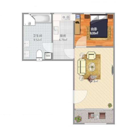京浦小区1室1厅1卫1厨64.00㎡户型图