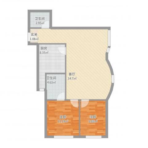 鹏润家园2室1厅2卫1厨98.00㎡户型图