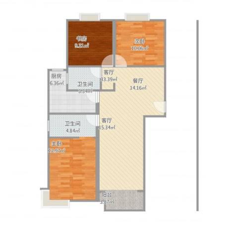 世纪名门3室1厅1卫1厨120.00㎡户型图