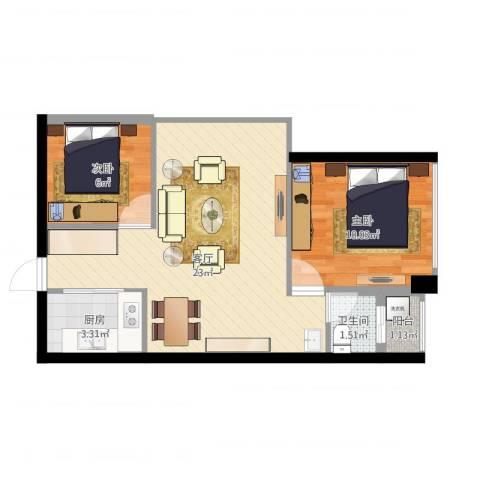 警备区龙华公寓2室1厅1卫1厨64.00㎡户型图