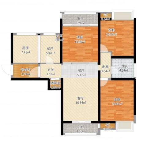 栖里凤台山庄3室1厅1卫1厨146.00㎡户型图