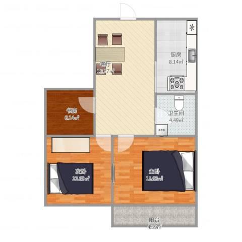 博学苑3室1厅1卫1厨96.00㎡户型图