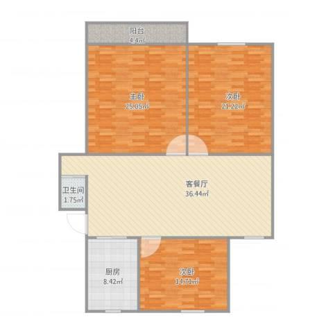 修贤苑3室2厅1卫1厨148.00㎡户型图