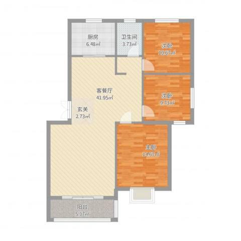 南郡天下3室2厅1卫1厨128.00㎡户型图