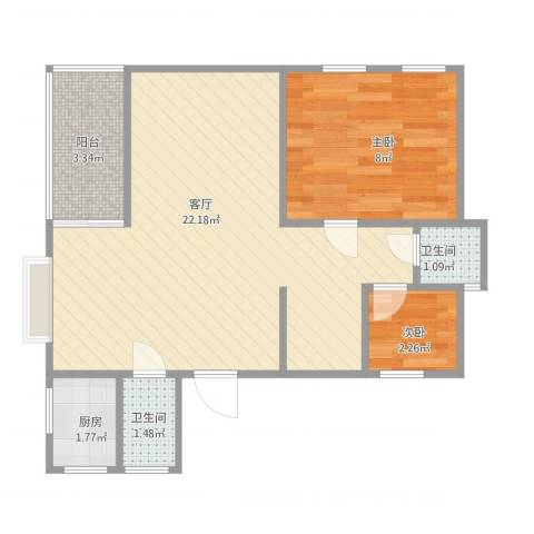 弘基书香园三期2室1厅2卫1厨55.00㎡户型图