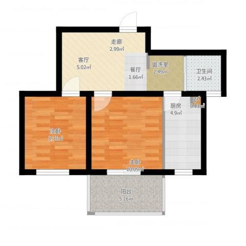 云河湾2室2厅1卫1厨64.00㎡户型图