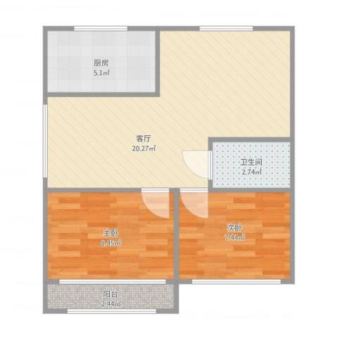 美树日记2室1厅1卫1厨63.00㎡户型图