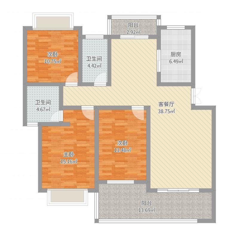 鑫科·蕙风园14#号楼C户型户型图