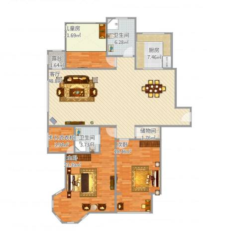 滨河湾3室1厅2卫1厨170.00㎡户型图