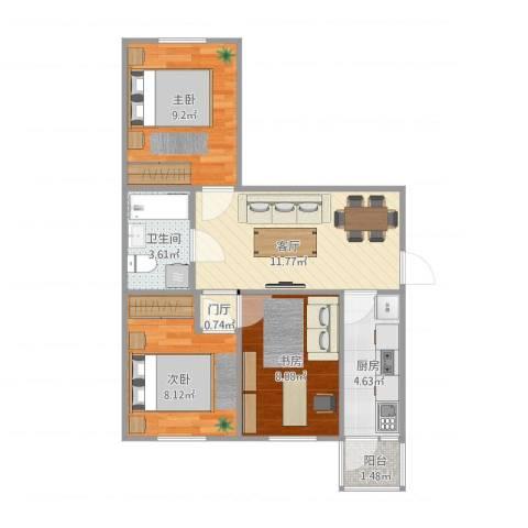 量具小区3室1厅1卫1厨65.00㎡户型图