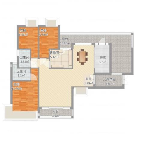 新鹰国际3室2厅2卫1厨140.00㎡户型图