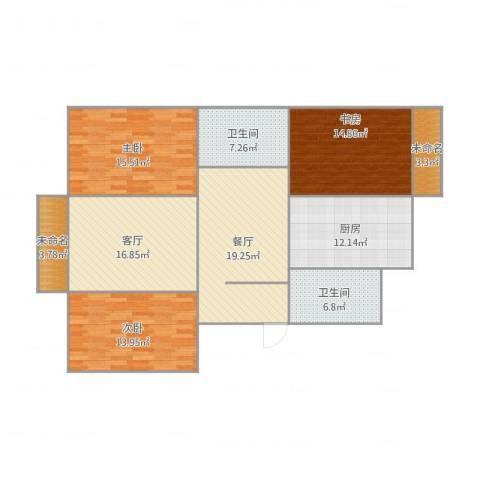 风荷东园3室2厅4卫1厨148.00㎡户型图