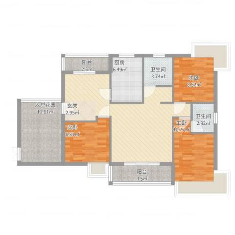新鹰国际3室2厅2卫1厨128.00㎡户型图