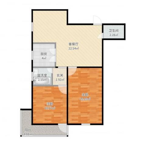 望京路10号院2室4厅1卫1厨86.00㎡户型图