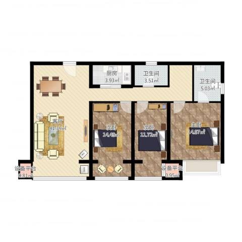 九形道1-16023室1厅2卫1厨138.00㎡户型图