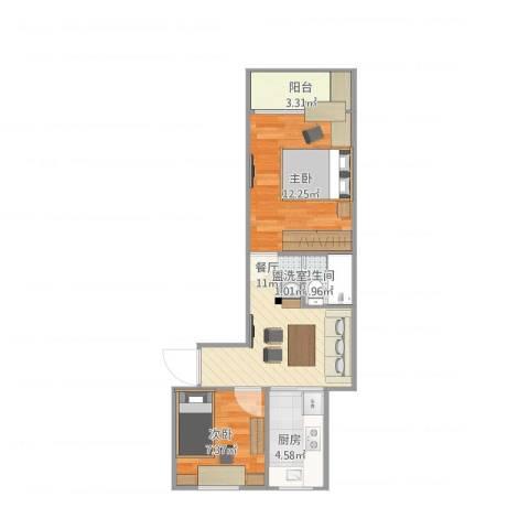 上农新村2室1厅1卫1厨56.00㎡户型图