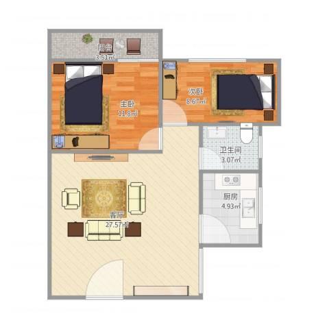 梅宾公安宿舍2室1厅1卫1厨80.00㎡户型图