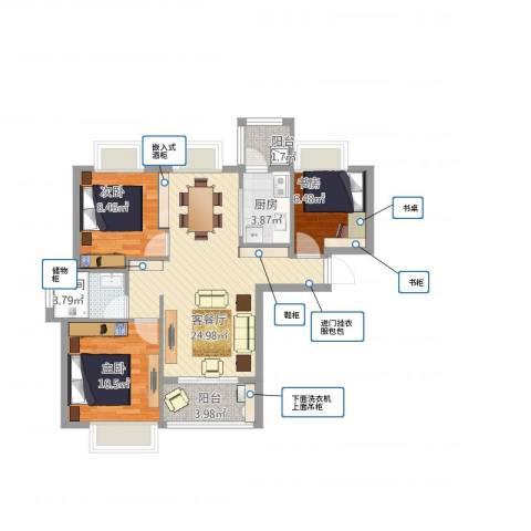 合景叠翠峰3室2厅1卫1厨91.00㎡户型图