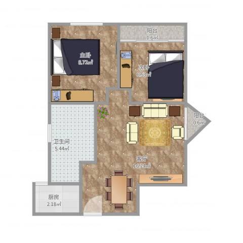 振华大厦2室1厅1卫1厨57.00㎡户型图