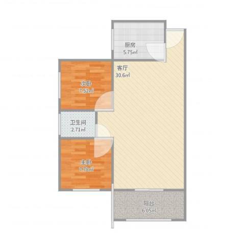 北池头2室1厅1卫1厨81.00㎡户型图
