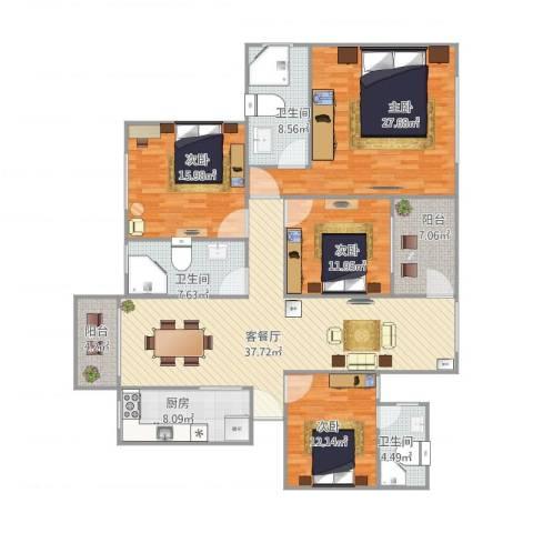 中信美景康城4室2厅3卫1厨156.00㎡户型图