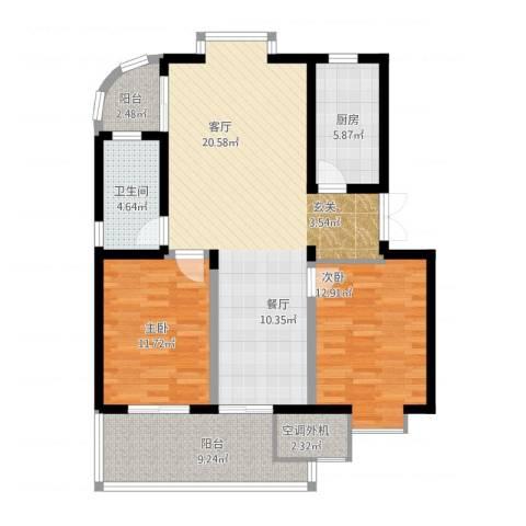放鹤洲花园2室2厅1卫1厨120.00㎡户型图