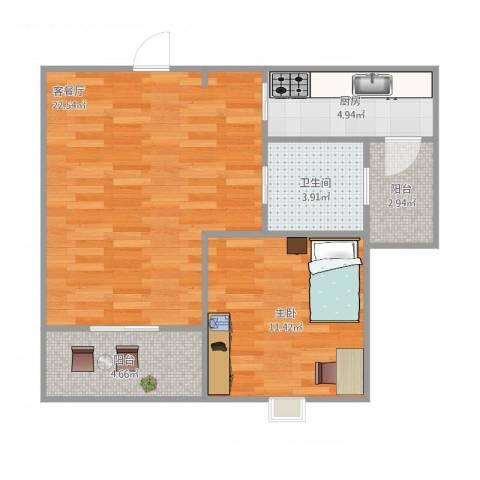 明天华城1室2厅1卫1厨68.00㎡户型图