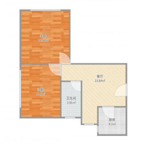 茂兴大厦2室1厅1卫1厨64.00㎡户型图