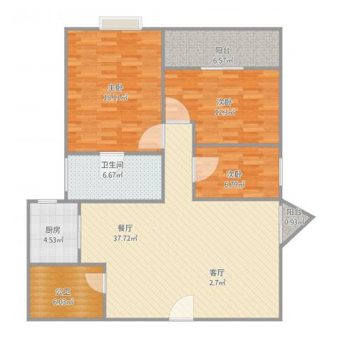 振华大厦3室1厅1卫1厨134.00㎡户型图