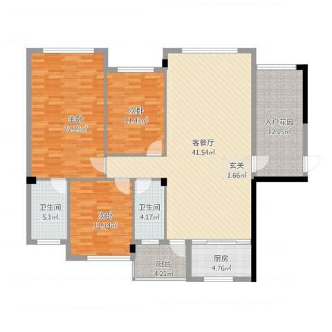 壮龙・幸福新城3室2厅2卫1厨162.00㎡户型图