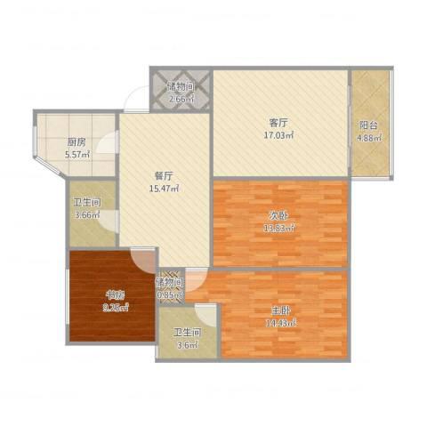 华梅花苑3室2厅2卫1厨123.00㎡户型图