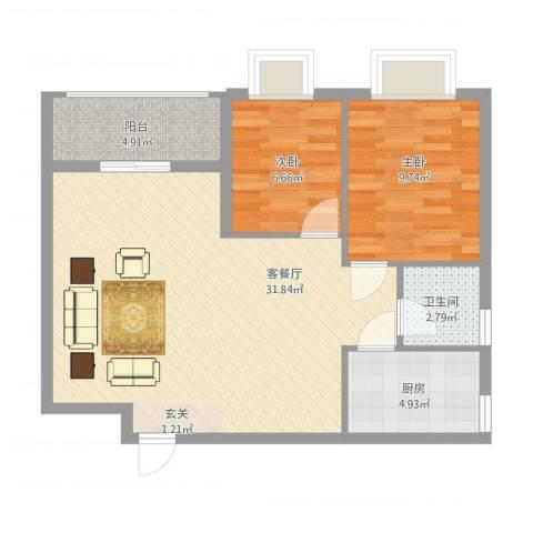 华南名宇二期2室2厅1卫1厨85.00㎡户型图