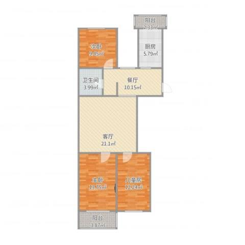 龙翔路小区3室2厅1卫1厨112.00㎡户型图