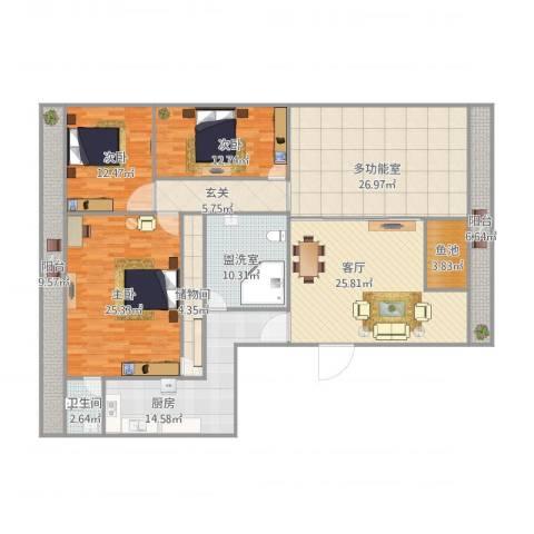 碧云天3室3厅1卫1厨218.00㎡户型图