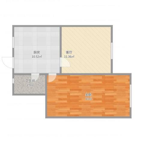 上南五村1室1厅1卫1厨56.00㎡户型图