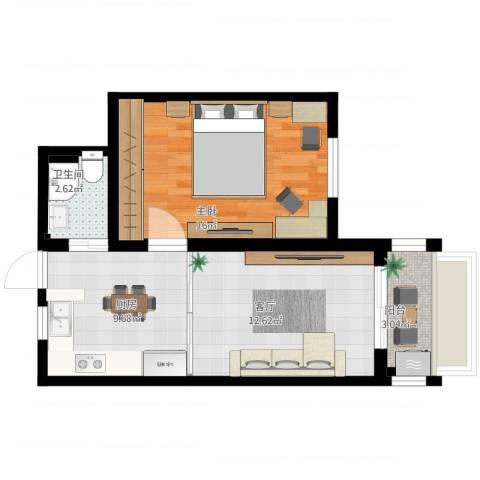 上南五村1室1厅1卫1厨64.00㎡户型图