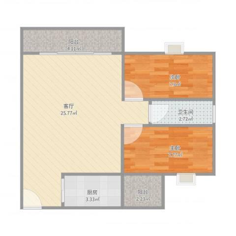 沙面新城丽影阁9042室1厅1卫1厨73.00㎡户型图